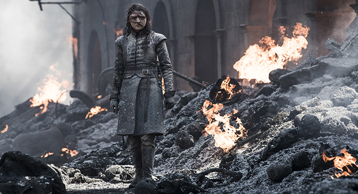 "Arya Stark (Maisie Williams) in season 8, episode 5 of Game of Thrones, ""The Bells"" (Helen Sloan/HBO)"