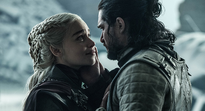 "Emilia Clarke as Daenerys Targaryen and Kit Harington as Jon Snow / Aegon Targaryen in Game of Thrones season 8, episode 6, series finale ""The Iron Throne"" (Helen Sloan/HBO)"