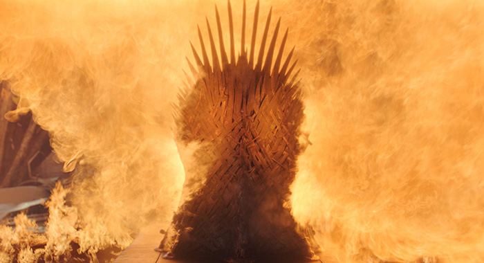 "Melting the Iron Throne in Game of Thrones season 8, episode 6, series finale ""The Iron Throne"" (HBO)"
