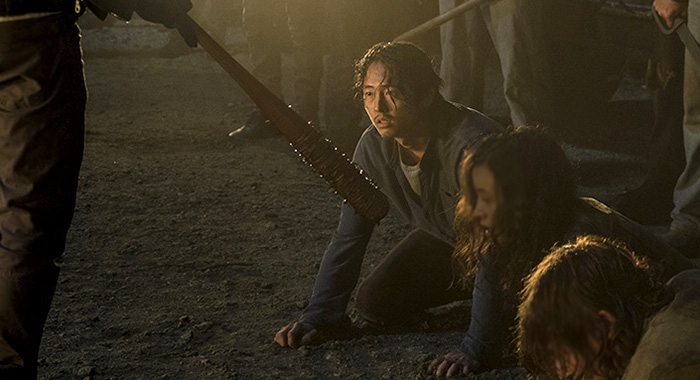 Jeffrey Dean Morgan as Negan, Steven Yeun as Glenn Rhee, Christian Serratos as Rosita Espinosa, Norman Reedus as Daryl Dixon - The Walking Dead _ Season 7, Episode 1 - Photo Credit: Gene Page/AMC