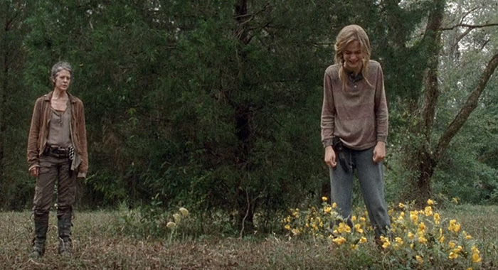 "The Walking Dead, season 4 episode 14 ""The Grove"" Melissa Mcbride as Carol and Brighton Sharbino as Lizzie screencap (AMC)"