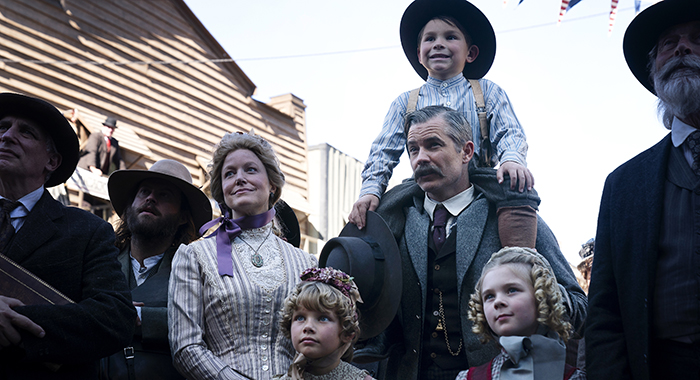 Anna Gunn, Leticia Lagutenko, Timothy Olyphant, Luke Dodge, Noelle E. Parker in Deadwood: The Movie. photo: Warrick Page/HBO