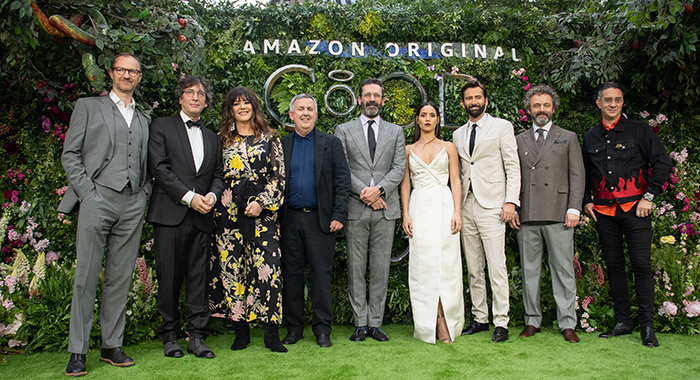 Mark Gatiss, Neil Gaiman, Douglas Mackinnon, John Hamm, Adria Arjona, David Tennant, Michael Sheen and Rob Wilkins attend The World Premiere of Amazon Original Series, Good Omens, in Leicester Square (Scott Garfitt/BACKGRID)