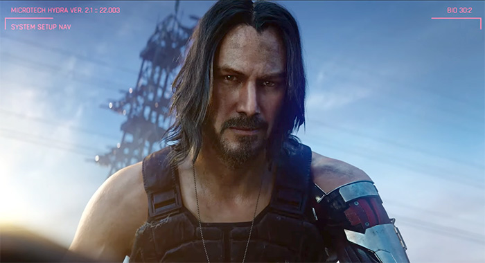 Screencap of Cyberpunk 2077 video game, which stars Keanu Reeves as NPC Johnny Silverhand (CD Projekt Red)