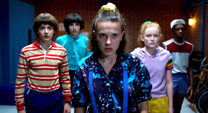 Stranger Things SEASON Season 3 PHOTO CREDIT Netflix PICTURED Noah Schnapp, Finn Wolfhard, Millie Bobby Brown, Sadie Sink, Caleb McLaughlin