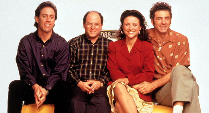 SEINFELD, Jerry Seinfeld, Jason Alexander, Julia Louis-Dreyfus, Michael Richards, 1990-98, Season 6. (Castle Rock Entertainment/Courtesy Everett Collection)
