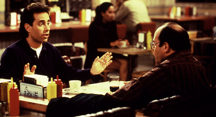 SEINFELD, Jerry Seinfeld, Jason Alexander, 1990-1998, restaurant (Courtesy Everett Collection)