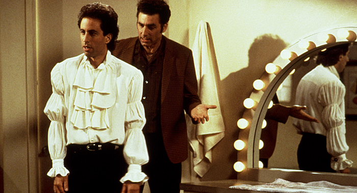SEINFELD, Jerry Seinfeld, Michael Richards, Episode 'The Puffy Shirt' aired September 23, 1993, Season 5. 1990-1998. (Castle Rock Entertainment/Courtesy Everett Collection)