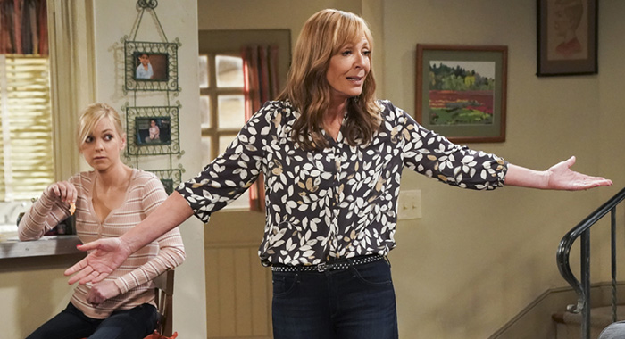 """Lumbar Support and Old Pork"" -- Bonnie has an unexpected reaction when she learns that Adam's bar is doing well. Also, Christy and Tammy go on a double date, on MOM, Thursday, April 18 (9:01-9:30 PM, ET/PT) on the CBS Television Network. Pictured L to R: Anna Faris as Christy and Allison Janney as Bonnie. Photo: Sonja Flemming/CBS ©2019 CBS Broadcasting, Inc. All Rights Reserved"