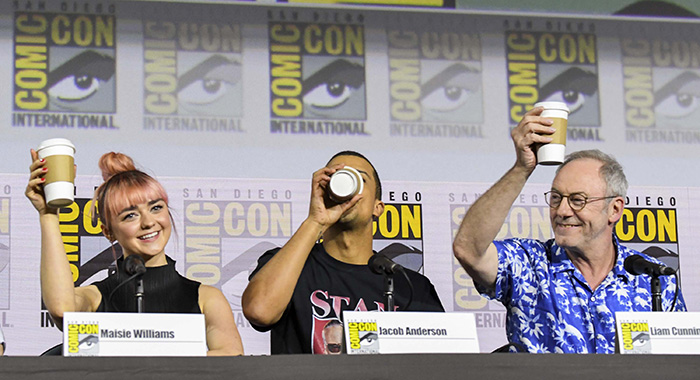 "SAN DIEGO, CALIFORNIA - JULY 19: Maisie Williams, Jacob Anderson, and Liam Cunningham at ""Game Of Thrones"" Comic Con Autograph Signing 2019 on July 19, 2019 in San Diego, California. (Photo by Jeff Kravitz/FilmMagic for HBO)"