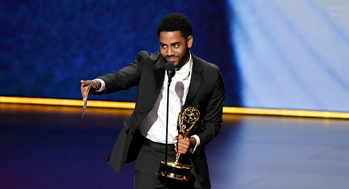 "LOS ANGELES, CALIFORNIA - SEPTEMBER 22: Jharrel Jerome accepts the Outstanding Lead Actor, Limited Series or TV Movie award for ""When They See Us"" onstage during the 71st Emmy Awards at Microsoft Theater on September 22, 2019 in Los Angeles, California. (Photo by Amy Sussman/WireImage)"
