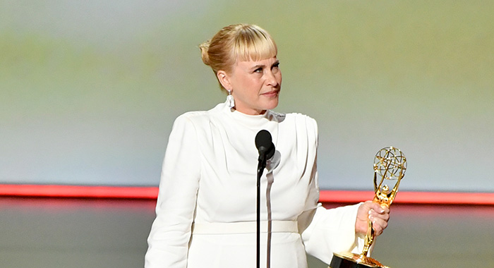"LOS ANGELES, CALIFORNIA - SEPTEMBER 22: Patricia Arquette accepts the Outstanding Supporting Actress, Limited Series or TV Movie for ""The Act"" onstage during the 71st Emmy Awards Supporting Actress, Limited Series or TV Movieat Microsoft Theater on September 22, 2019 in Los Angeles, California. (Photo by Amy Sussman/WireImage)"
