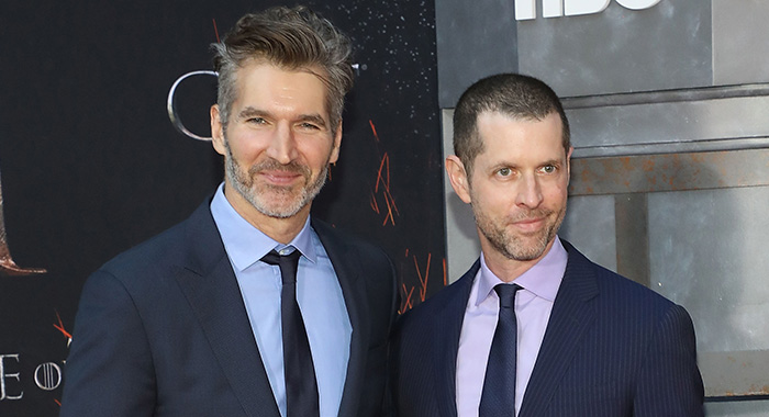 "NEW YORK, NY - APRIL 03: David Benioff and D.B. Weiss attend the Season 8 premiere of ""Game of Thrones"" at Radio City Music Hall on April 3, 2019 in New York City. (Photo by Taylor Hill/Getty Images)"