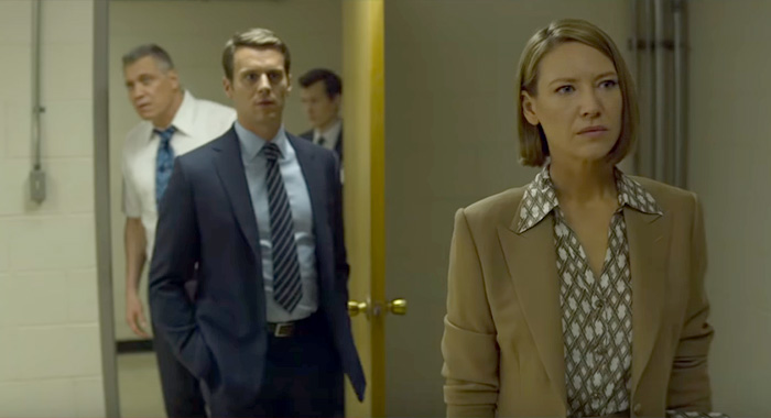 Holt McCallany as Bill Tench, Jonathan Groff as Holden Ford, Joe Tuttle as Gregg Smith, and Anna Torv as Dr. Wendy Carr in Mindhunter season 2 trailer screencap (Netflix)