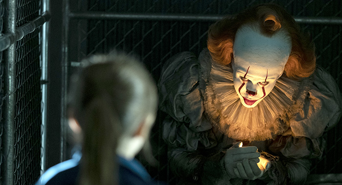 "BILL SKARSGÅRD as Pennywise in New Line Cinema's horror thriller ""IT CHAPTER TWO,"" a Warner Bros. Pictures release. (Brooke Palmer/Warner Bros. Entertainment)"