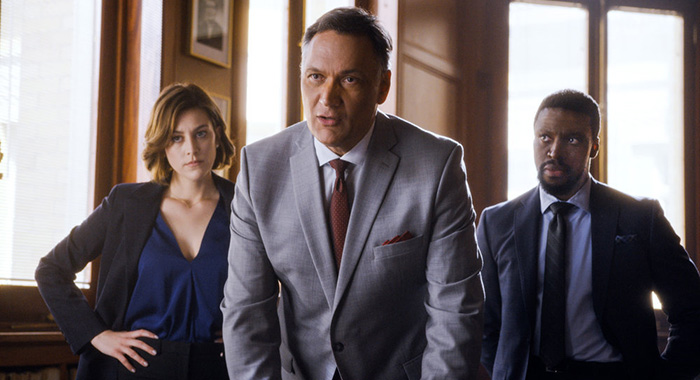 "BLUFF CITY LAW -- ""Pilot"" Episode -- Pictured: (l-r) Caitlin McGee as Sydney Strait, Jimmy Smits as Elijah Strait, Michael Luwoye as Anthony Little -- (Photo by: NBC)"