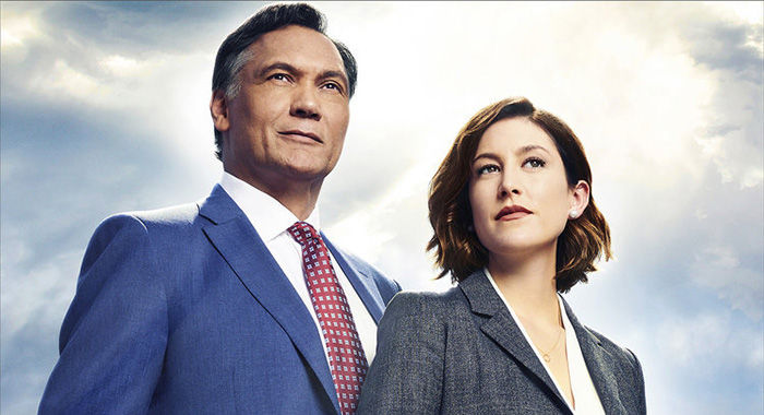 BLUFF CITY LAW -- Season:1 -- Pictured: (l-r) Jimmy Smits as Elijah Strait, Caitlin McGee as Sydney Strait -- (Photo by: Jason Bell/NBC)