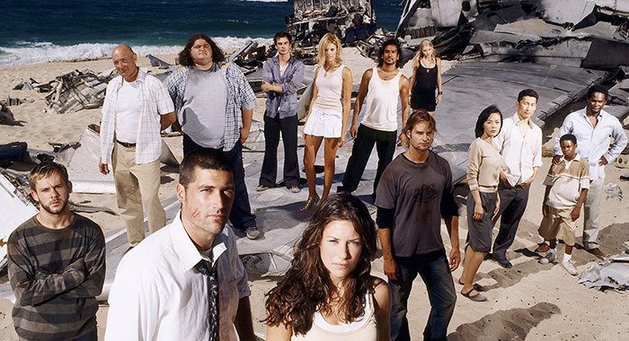 LOST, (front, l to r): Dominic Monaghan, Matthew Fox, Evangline Lilly, (middle): Josh Holloway, Yun Jin Kim, Daniel Dae Kim, Malcolm David Kelley, Harold Perrineau, (back): Terry O'Quinn, Jorge Garcia, Ian Somerhalder, Maggie Grace, Naveen Andrews, Emilie De Ravin, 2004-2010. photo: Reisig & Taylor/© ABC/Courtesy: Everett Collection