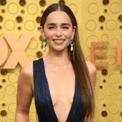 British actress Emilia Clarke arrives for the 71st Emmy Awards at the Microsoft Theatre in Los Angeles on September 22, 2019. (Photo by VALERIE MACON / AFP) (Photo credit should read VALERIE MACON/AFP/Getty Images)