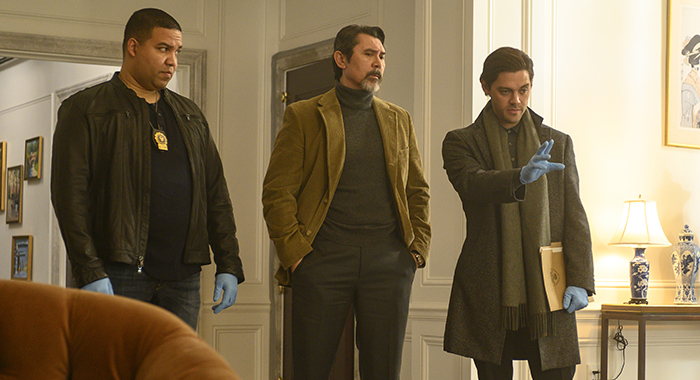 "PRODIGAL SON: L-R: Frank Harts, Lou Diamond Phillips and Tom Payne in the ""Pilot"" series premiere episode of PRODIGAL SON airing Monday, Sept. 23 (9:00-10:00 PM ET/PT) on FOX. © 2019 FOX MEDIA LLC. Cr: David Giesbrecht/FOX"