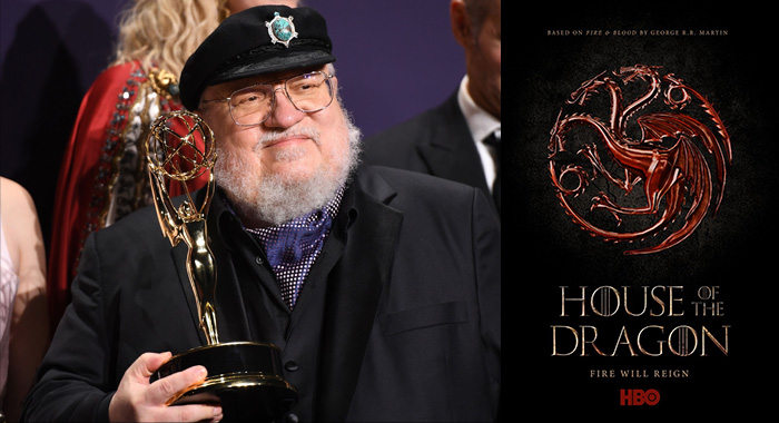 "US novelist George R.R. Martin poses with the Emmy for Outstanding Drama Series ""Game Of Thrones"" during the 71st Emmy Awards at the Microsoft Theatre in Los Angeles on September 22, 2019; House of the Dragon keyart (ROBYN BECK/AFP via Getty Images; HBO)"
