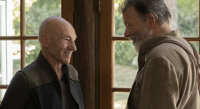 Pictured (l-r): Patrick Stewart as Picard; Jonathan Frakes as Riker of the the CBS All Access series STAR TREK: PICARD. Photo Cr: Trae Patton/CBS