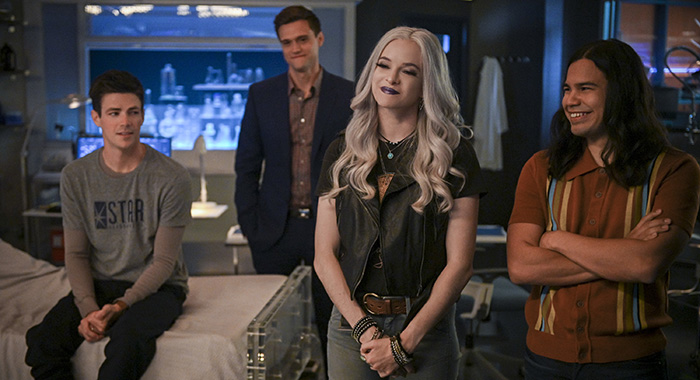 "The Flash -- ""A Flash of the Lightning"" -- Image Number: FLA602a_0035b2.jpg -- Pictured (L-R): Grant Gustin as Barry Allen, Hartley Sawyer as Dibney, Danielle Panabaker as Killer Frost and Carlos Valdes as Cisco Ramon -- Photo: Sergei Bachlakov/The CW"