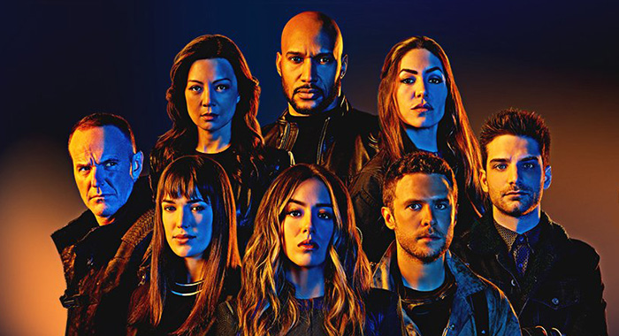 "Ming-Na Wen as Agent Melinda May, Clark Gregg as Sarge, Natalia Cordova-Buckley as Elena ""Yo-Yo"" Rodriguez, Henry Simmons as Director Alphonso ""Mack"" MacKenzie, Chloe Bennet as Daisy Johnson, Iain De Caestecker as Agent Leo Fitz, Elizabeth Henstridge as Agent Jemma Simmons, and Jeff Ward as Deke Shaw in Marvel's Agents of SHIELD keyart (ABC/Marvel Television)"