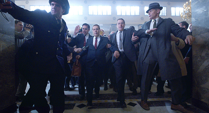THE IRISHMAN (2019) Ray Ramano (Bill Bufalino ) Al Pacino (Jimmy Hoffa) and Robert De Niro (Frank Sheeran) (Netflix)