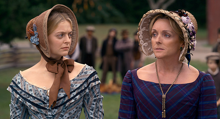 "Season 1 | Episode 4 Anna Baryshnikov and Jane Krakowski in ""Dickinson,"" premiering November 1 on Apple TV+."