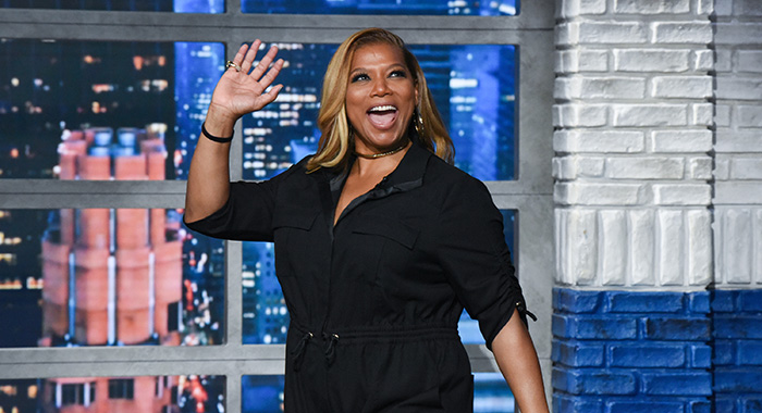 NEW YORK - OCTOBER 28: The Late Show with Stephen Colbert and guest Queen Latifah during Monday's October 28, 2019 show. (Photo by Scott Kowalchyk/CBS via Getty Images)