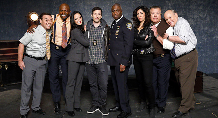 BROOKLYN NINE-NINE -- Promo -- Pictured: (l-r) Joe Lo Truglio as Charles Boyle, Terry Crews as Terry Jeffords, Melissa Fumero as Amy Santiago, Andy Samberg as Jake Peralta, Andre Braugher as Ray Holt, Stephanie Beatriz as Rosa Diaz, Joel McKinnon Miller as Scully, Dirk Blocker as Hitchcock -- (Photo by: Trae Patton/NBC)
