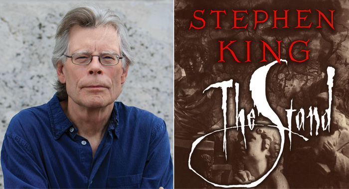 Author Stephen King with his book The Stand