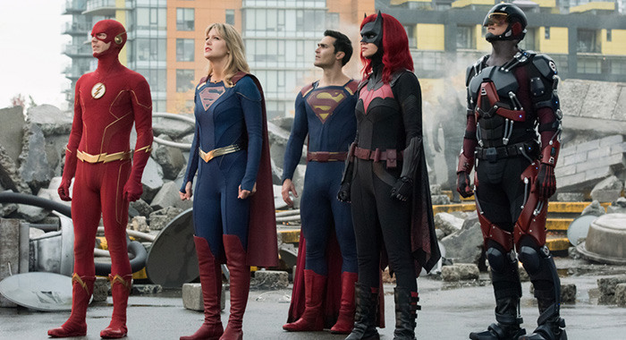 "Supergirl -- ""Crisis on Infinite Earths: Part One"" -- Image Number: SPG509c_0115r.jpg -- Pictured (L-R): Grant Gustin as The Flash, Melissa Benoist as Kara/Supergirl, Tyler Hoechlin as Clark Kent/Superman, Ruby Rose as Kate Kane/Batwoman and Brandon Routh as Ray Palmer/Atom -- Photo: Dean Buscher/The CW -- © 2019 The CW Network, LLC. All Rights Reserved."