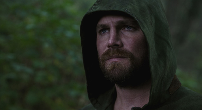 "The Flash -- ""Crisis on Infinite Earths: Part Three"" -- Image Number: FLA609e_0002r.jpg -- Pictured: Stephen Amell as Oliver Queen/Green Arrow -- Photo: The CW -- © 2019 The CW Network, LLC. All Rights Reserved."