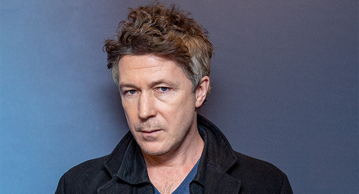 """NEW YORK, NEW YORK - JANUARY 17: (EXCLUSIVE COVERAGE) Aidan Gillen discusses his career and his new show """"Project Blue Book"""" with """"In Depth"""" with host Larry Flick at SiriusXM Studios on January 17, 2020 in New York City. (Photo by Roy Rochlin/Getty Images)"""