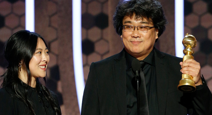 "77th ANNUAL GOLDEN GLOBE AWARDS -- Pictured: Bong Joon Ho accepts the award for Best Motion Picture, Foreign Language for ""Parasite"" at the 77th Annual Golden Globe Awards held at the Beverly Hilton Hotel on January 5, 2020 -- (Photo by: Paul Drinkwater/NBC) NUP_189708_1599.JPG Sunday, January 5 on NBC (LIVE 5-8 p.m. PT; 8-11 p.m. ET)"