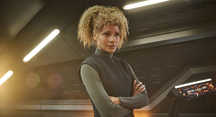 Pictured: Michelle Hurd as Raffi of the CBS All Access series STAR TREK: PICARD. Photo Cr: James Dimmock/CBS ©2019 CBS Interactive, Inc. All Rights Reserved.