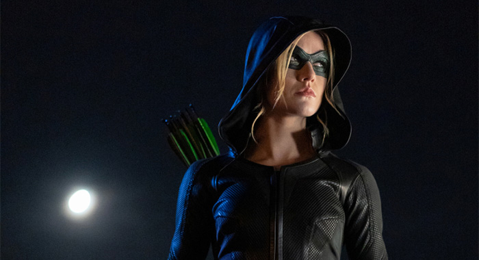 "Arrow -- ""Green Arrow & The Canaries"" -- Image Number: AR809b_0800r.jpg -- Pictured: Katherine McNamara as Mia -- Photo: Colin Bentley/The CW -- © 2020 The CW Network, LLC. All Rights Reserved."