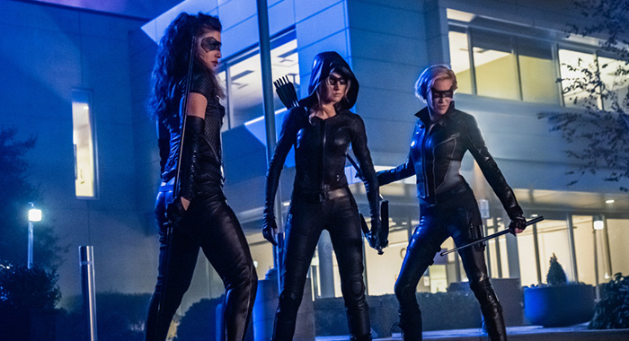 "Arrow -- ""Green Arrow & The Canaries"" -- Image Number: AR809a_0094r.jpg -- Pictured (L-R): Juliana Harkavy as Dinah Drake/Black Canary, Katherine McNamara as Mia and Katie Cassidy as Laurel Lance/Black Siren -- Photo: Katie Yu/The CW -- © 2020 The CW Network, LLC. All Rights Reserved."