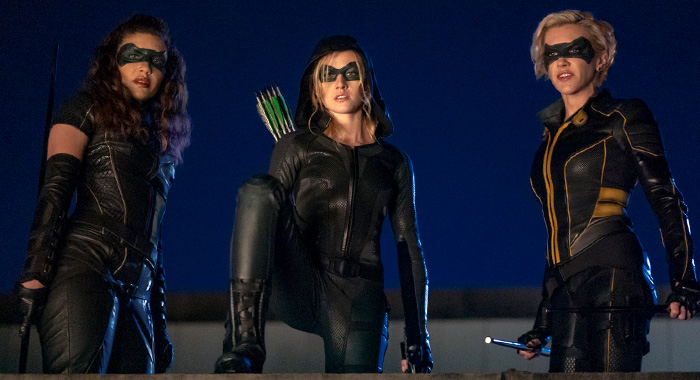 "Arrow -- ""Green Arrow & The Canaries"" -- Image Number: AR809b_0627r.jpg -- Pictured (L-R): Juliana Harkavy as Dinah Drake/Black Canary, Katherine McNamara as Mia and Katie Cassidy as Laurel Lance/Black Siren -- Photo: Colin Bentley/The CW -- © 2020 The CW Network, LLC. All Rights Reserved."