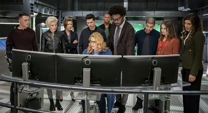 "Arrow -- ""Fadeout"" -- Image Number: AR810B_0438b.jpg -- Pictured (L-R): Colton Haynes as Roy Harper, Katie Cassidy as Laurel Lance/Black Siren, Audrey Marie Anderson as Lyla Michaels, Joe Dinicol as Rory Regan/Ragman, Emily Bett Rickards as Felicity Smoak, David Ramsey as John Diggle/Spartan, Echo Kellum as Curtis Holt/Mr. Terrific, Rick Gonzalez as Rene Ramirez/Wild Dog, Willa Holland as Thea Queen and Juliana Harkavy as Dinah Drake/Black Canary -- Photo: Colin Bentley/The CW -- © 2020 The CW Network, LLC. All Rights Reserved."