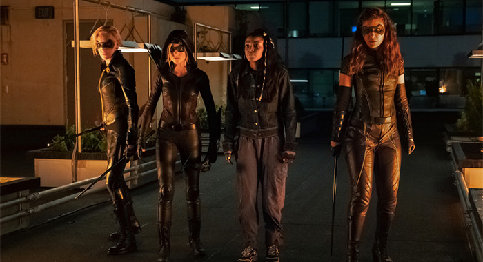"Arrow -- ""Green Arrow & The Canaries"" -- Image Number: AR809a_0263r.jpg -- Pictured (L-R): Katie Cassidy as Laurel Lance/Black Siren, Katherine McNamara as Mia, Raigan Harris as Bianca Bertinelli and Juliana Harkavy as Dinah Drake/Black Canary -- Photo: Katie Yu/The CW -- © 2020 The CW Network, LLC. All Rights Reserved."