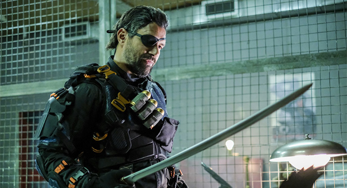 "Arrow -- ""Promises Kept"" -- Image AR606b_0143b.jpg -- Pictured: Manu Bennett as Slade Wilson/Deathstroke -- Photo: Robert Falconer/The CW -- © 2017 The CW Network, LLC. All Rights Reserved."
