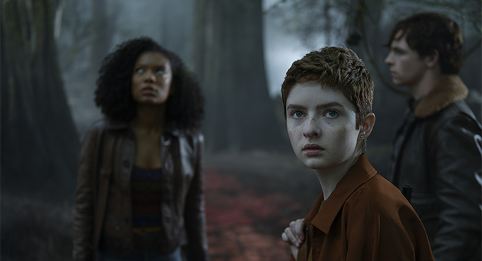 Jaz Sinclair as Roz, Lachlan Watson as Theo, and Ross Lynch as Harvey in Chilling Adventures of Sabrina Part 3 (Netlfix)