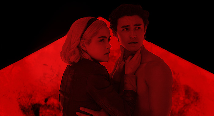 Kiernan Shipka as Sabrina and Gavin Leatherwood as Nicholas Scratch in Chilling Adventures of Sabrina Part 3 (Netlfix)