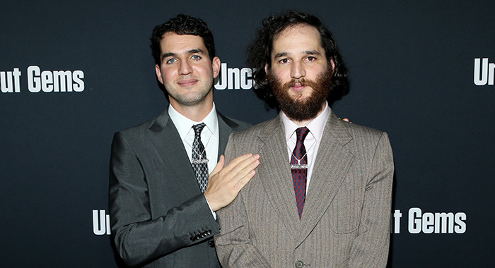 "HOLLYWOOD, CALIFORNIA - DECEMBER 11: Benny Safdie and Josh Safdie attend the premiere of A24's ""Uncut Gems"" at The Dome at Arclight Hollywood on December 11, 2019 in Hollywood, California. (Photo by Phillip Faraone/FilmMagic,)"