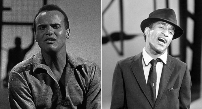 Harry Belafonte in CBS musical special 'Tonight With Belafonte,' 1959; Sammy Davis Jr. performs in the 1950s (Photo by CBS Photo Archive/Getty Images; Courtesy Everett Collection)