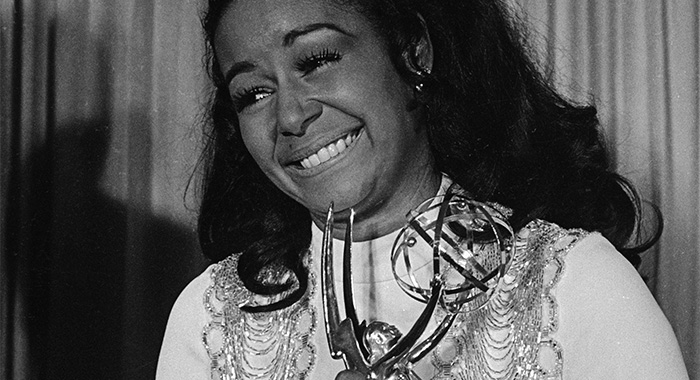 "Actress Gail Fisher holding the Best Supporting Actress in a series Emmy she won for the series ""Mannix"". (Courtesy Everett Collection)"