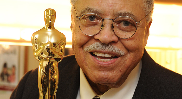 "LONDON, UNITED KINGDOM - NOVEMBER 12: Legendary American actor James Earl Jones poses with his ""Lifetime achievement"" Oscar that he received from Sir Ben Kinsley after his performance in ""Driving Miss Daisy"" on November 12, 2011 at the Garrick Theatre in London, England. (Photo by Dave M. Benett/Getty Images)"